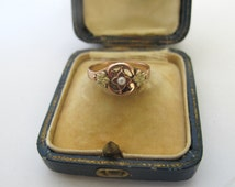 Antique victorian Floral gold Plated and pearl / French old Jewelry