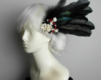 Gothic Victorian/1920's- Feather Hair Clip