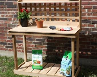 Brand New 6 Foot Decorative Lattice Cedar Potting Bench - Free Shipping