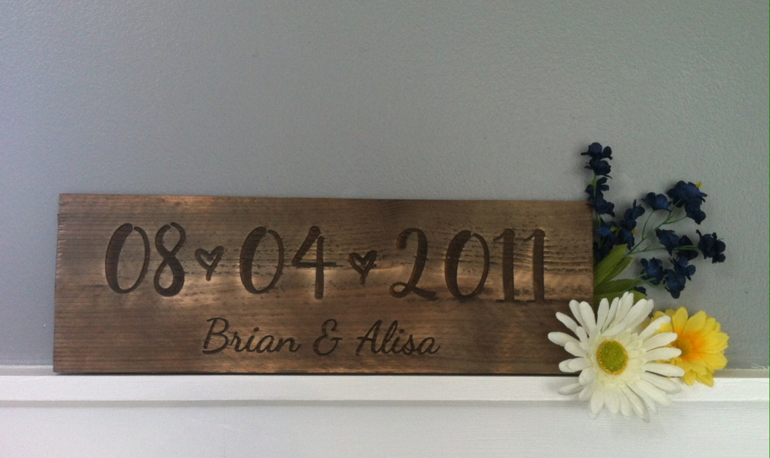 On Sale Rustic Wood Sign Wedding Decor Laser Engraved Established Date Anniversary Gift Rustic