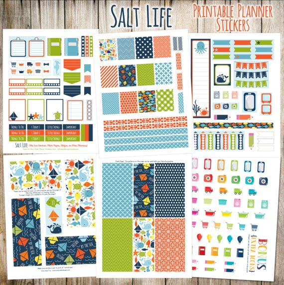Salt Life Printable Planner Stickers - 6 Full Pages!  (Made to fit Erin Condren, Plum Paper, Filofax, and other planners)
