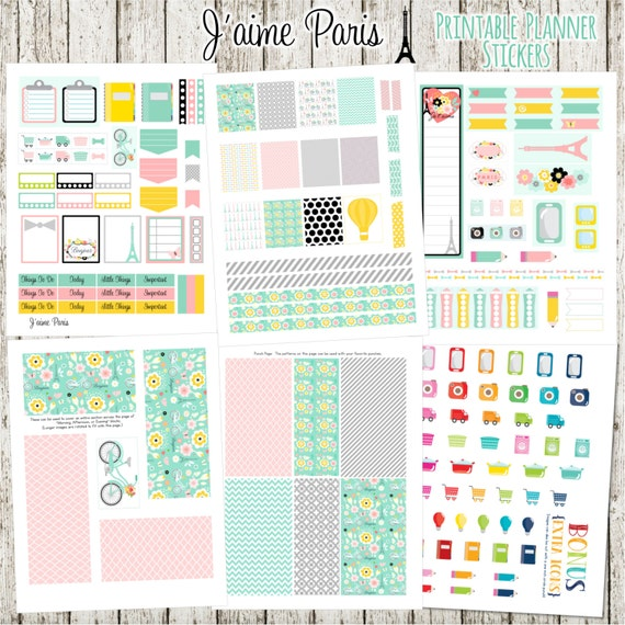 J'aime Paris Printable Planner Stickers - 6 Full Pages!  (Made to fit The Erin Condren Planner - ECLP)