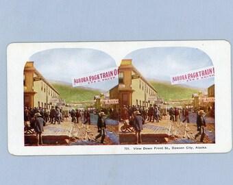Alaska Klondike Stereoscope Color Card, Dawson City, Gold Rush Pack Train, Street View, 1890s