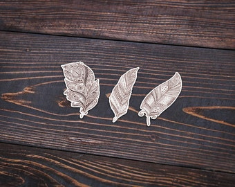 """Drawn Feather Abstract Bohemian - Pack Of 3 - 4"""" Wide - Personalized Sticker - Die Cut"""