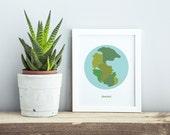 "Home Decor Art Print, Wall Decor, Pangaea, Planet Earth ""Throwback"" Science Art"