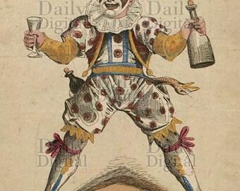 Vintage Circus Clown Print Digital Art Download Scary Clown Post Card Art 1800's Digital Prints