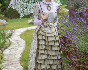 Long elegant green-pearl-gold Victorian skirt with frills and back train - TWO TYPES!