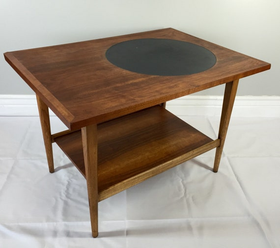 Mid Century Lane Copenhagen Drop Leaf Coffee Table: Mid Century Modern Lane Altavista Walnut & Black Leather Inlay