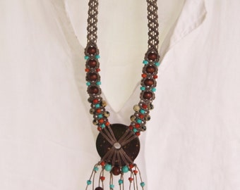 Coconut Statement Necklace / Beaded Macrame Necklace, gray, turquoise, brown