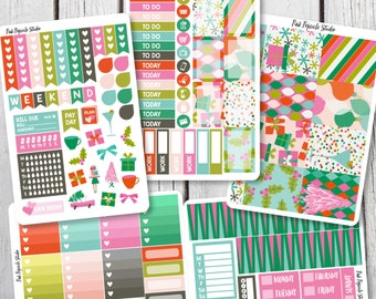 50% OFF - Jingle All the Way Christmas Weekly Kit Planner Stickers Designed for Erin Condren Life Planner Vertical