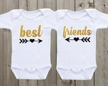 Best Friends Twin Outfits Twin Onesie ® Set of 2 Twin Shirts Twin Baby Girls Outfit Gold and Black Glitter Shirts Twin Baby Gifts