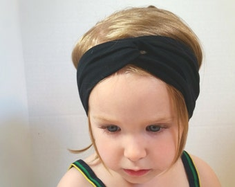 Black organic turban headband Choose your color, bamboo organic cotton, baby, toddler,teen adult, gray,natural, blue, charcoal,black, olive