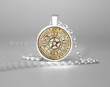 WICCAN PENTAGRAM PENDANT Pentagram Jewelry Wicca Necklace Wicca Pagan Religion Wiccan Wheel Celtic Wheel Zodiac Elemental Pentacle Star Gift