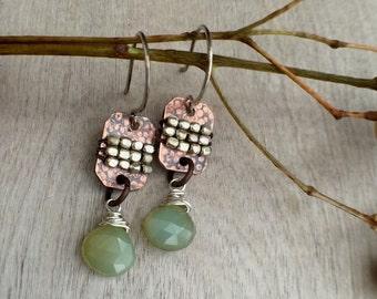 Dangle earrings  Sterling silver earrings   copper earrings  rustic earrings  Aquamarine earrings
