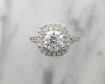Double Cushion Halo Split Shank Engagement Ring - Pave Diamonds - 14K White Gold - Setting Only Ring - Platinum Diamond Ring - Affordable
