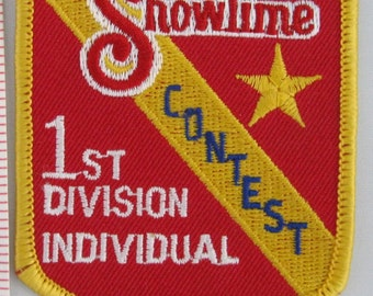 ShowTime Contest 1st Division Individual Sew On Patch, Vintage Patch, Embroidered Applique Patch, Vintage Sports Patch, Embroidered Patch