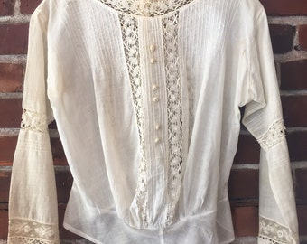 Antique Edwardian cotton lawn blouse