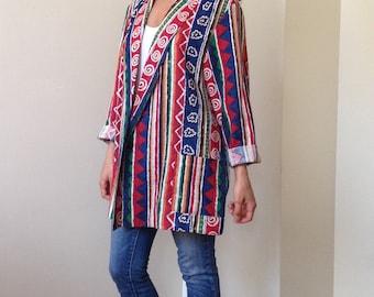 Vtg Joanna Oversized Multicolor Southwestern Print Jacket - Blazer