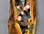Hummingbirds on flowers carved on wood gift handmade Art, mural by Vladimir Davydov decorates Unique for home and cottage wood with bark