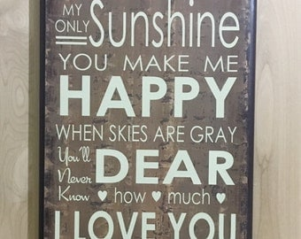 You are my sunshine wall art, wood sign nursery wall decor, kids room decor, baby gift,custom wooden sign, home decor sign, custom wood sign