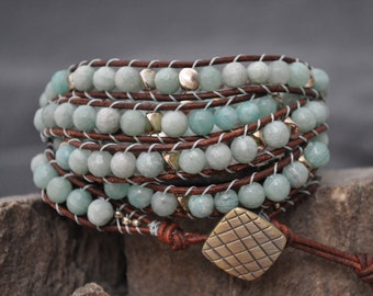 Faceted amazonite Boho style 5 wrap bracelet with medium brown natural leather