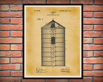 Patent 1903 Silo - Art Print or Poster - Wall Art - Agriculture Art - Farming - Farm Tool Patent