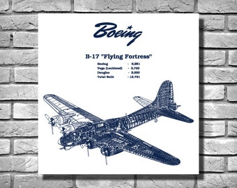 1935 Boeing B17 Flying Fortress WWII Bomber - Airplane - Art Print - Poster - Wall Art - War Plane - War Memorabilia - Square Dimensions