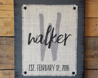 Burlap Print Wood Sign Marriage Established Sign, Wedding Date Sign, Wedding Gift, Anniversary Date Sign, Last Name Sign, Monogram Sign