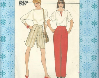 Butterick 4926 Fast and Easy Sewing Pattern Misses Top,Shorts and Pants Misses Sizes 14-16-18~ Complete & Uncut