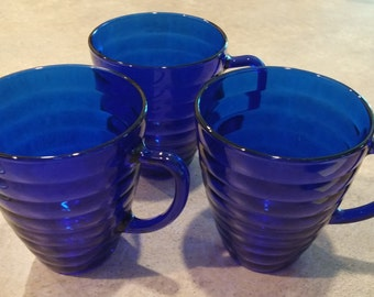 Duralex France Cobalt Blue Beehive Cups with Handle