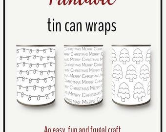 Black & white Printable Tin can Wraps, Christmas home decor