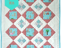 Baby Quilt Kit in Riley Blake's Teddy Bear's Picnic - Crib Quilt Kit, Make Your Own Quilt, Craft Kit