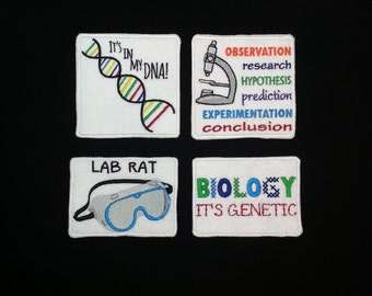 Science and biology patches - iron on, sew on, velcro, or magnetic. Scientific method, biology, DNA, and lab goggles.