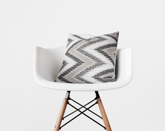 Chevron Ikat Pillow Cover Neutral Geometric Pillows in Black, White, Gray and Tapue Modern Home Designer Throw Pillows 16x16 18x18 20x20