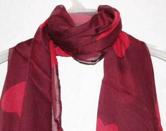 Maroon - Red Hearts Scarf, Maroon Scarf, Valentines Gift, For Her, Spring Summer Scarf, Love Accessories, Red Accessories