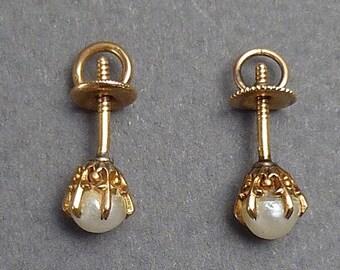 Pearl stud earrings c 1890