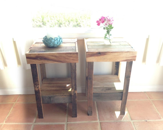 beautiful recycled wood reclaimed nightstand end accent entry table beach house cabin
