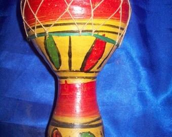 Moroccan Terracotta Finger Drum, Rawhide, Handmade & Handpainted
