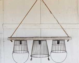 Basket Pendant, Rustic Farmhouse Chandelier
