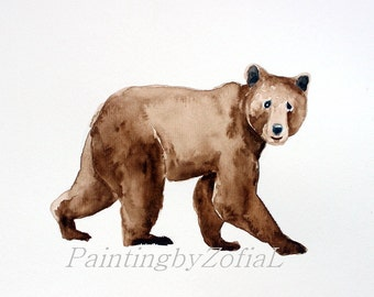 bear original watercolor painting bear painting wildlife painting nursery wall art 28,2x21cm (11.24x8.4inch)