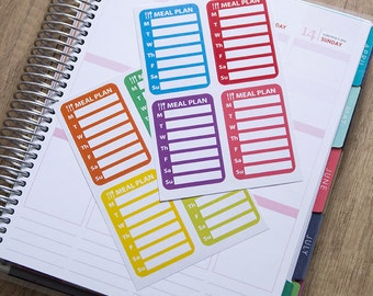 8 weekly meal plan stickers, food dinner plan stickers, planner stickers, organizer lunch stickers eclp filofax happy planner kikkik