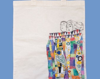 Love! Under the sheets tote bag, hand made, Klimt inspired / Cotton hand painted tote bag / gift under 20 / market bag /summer tote