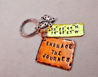 Rustic Keychain / Embrace the Journey / Hand Stamped Key Chain /Inspirational / Motivation / Graduation Gift / New Job / Boho Gypsy Coul
