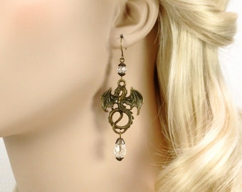 Tanis Earrings, dragon jewelry, clear crystal dragon earrings, Renaissance earrings, dragon Medieval earrings, dragon Fantasy Earrings