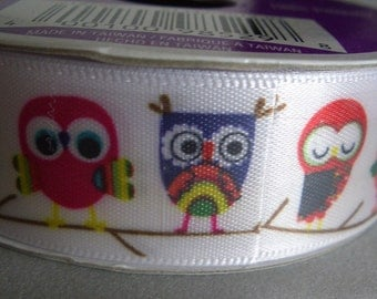 Colorful and Cute Owls on White Satin Ribbon Embellishment Crafts Hair Bows
