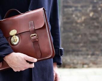 Leather Briefcase for Men in Dark Brown - Mens Laptop Bag