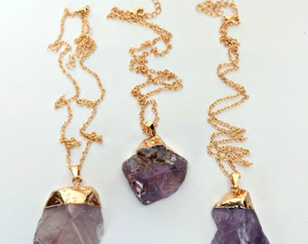 Natural purple quartz druzy, Gold chain purple quartz crystal necklace, Natural quartz necklace.