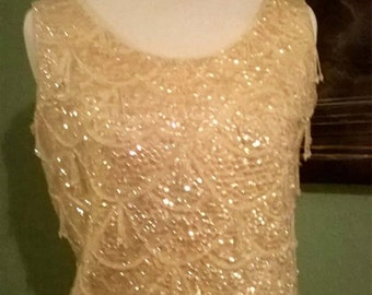 1950s early 60s cream knit irridescent sequined, beaded, sleeveless top, dressy,sparkly, small