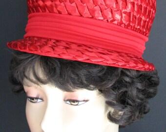 Vintage Hat Red Straw Miss Eileen 1960s