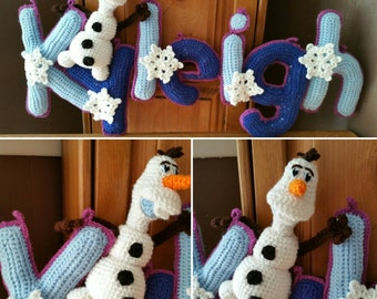 Snowman Name Banner, Made-to-Order Crochet